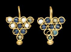 Greek Gold Earrings with Glass Beads, 3rd-4th Century AD