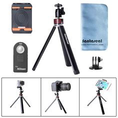 Fantaseal Aluminum Alloy Mini Tripod 4-in-1 Nikon Camera Tripod Cellphone Table Desk Tripod Stand Smartphone Mobile Phone Kickstand Cradle Holder Camera Grip w/ Cellphone Clip for all iPhone   Gopro * To view further for this item, visit the image link.