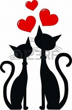 twee zwarte katten in de liefde Stockfoto - 15176639
