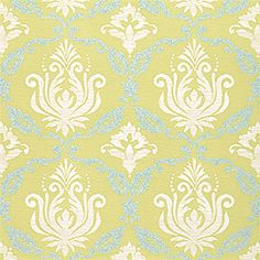 Blue & Green #Thibaut!  Julie Damask Wallpaper in Blue on Green from the Gatehouse Collection