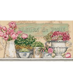"""Flowers Of Paris Counted Cross Stitch Kit-14""""X8"""" 14 Count"""