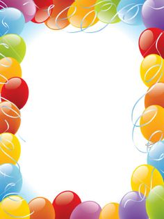 balloons frame decoration ready for posters and cards Birthday Clipart, Birthday Invitations, Birthday Cards, New Year Greeting Cards, New Year Greetings, Balloon Pictures, Boarders And Frames, Happy Birthday Celebration, Photo Frame Design
