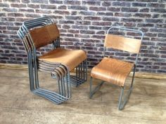 INDUSTRIAL Padded Seat Metal Silver Stackable Dining Kitchen Chair ...