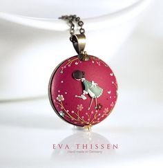 Little Gardener. Whimsical hand made polymer clay pendant. Made to order by Eva Thissen Gallery