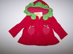 NWT GYMBOREE BRAND NEW BABY PREEMIE SIZE UP TO 5 lbs HOODED HOODIE STRAWBERRY