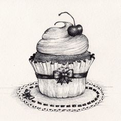 Here's some sweetness to start this Monday off! ;) #DailyCupcake #madeleineink #penandink #drawingaday #art #cherry #cupcakes