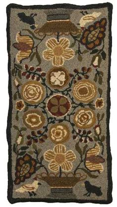 """Primitive Flowers"" hand hooked rug from Wooley Thymes"