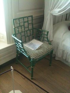 Love this painted bamboo chair~  In a house at Colonial Williamsburg, VA