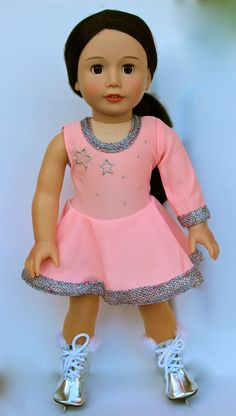 Harmony Club Dolls carries Fits American Girl Dolls ice skating outfits with shiny silver ice skates that have real metal blades. Visit our online store at www.harmonyclubdolls.com