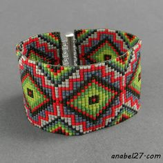 Широкий браслет из бисера Beaded bracelet - loom beading