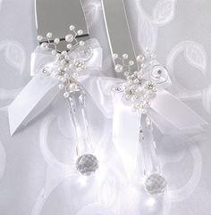 Decorating wedding servers | Pin Wedding Cake Knife And Server Set Removable Flower Decoration Cake ...