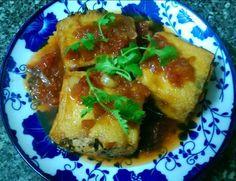 Vegetarian Stuffed Tofu with Mushrooms & Tomato Sauce – Dau Hu Nhoi Thit Kho Ca Chua Chay
