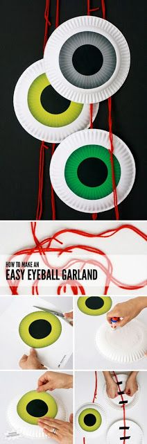 How to Make an EASY Eyeball Door Garland for Halloween or a Monster Party Theme Halloween, Halloween Tags, Halloween Birthday, Holidays Halloween, Halloween Season, Birthday Kids, Google Halloween, Halloween Prints, Halloween Mural