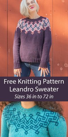Free Sweater Knitting Pattern Leandro Sweater Pullover with a circular colorwork yoke in either 3 colors or 2 colors. Sizes Chest/Bust: 36.25[40, 44.25, 48, 52.25, 56, 60.25, 64, 68.25, 72] inches/ 92[101.5, 112.5, 122, 132.5, 142, 153, 162.5, 173.5, 183] cm. Worsted weight yarn. Designed by Alison Green for Knitty.