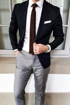 Business Fashion Statements Black Blazer with Grey Trousers - Nice .but not compatible with a white cat!Black Blazer with Grey Trousers - Nice .but not compatible with a white cat! Blazer Outfits Men, Mens Fashion Blazer, Suit Fashion, Men Blazer, Fashion Menswear 2018, Mens Smart Fashion, Classic Mens Fashion, Mens Fashion 2018, Trousers Fashion