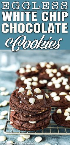 These Eggless White Chip Chocolate Cookies are soft rich with brownie-like centers! The perfect treat for all chocolate lovers out there. Eggless Cookie Recipes, Dessert Recipes, White Chocolate Chips, Chocolate Chip Cookies, Chocolate Desserts, Yummy Food, Delicious Recipes, Easy Recipes, Delicious Dishes