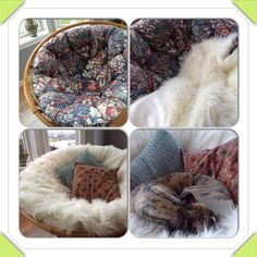 1. A truly ugly papasan chair bought at a local fleemarket. 2. A cheap round floorcarpet bought at Ikea with luckily for me the perfect size to cover the ugly cushions. 3. A hole cut in the fabric at the backside of the carpet, cushion safely tucked inside, and sown in. 4. A very happy dog!
