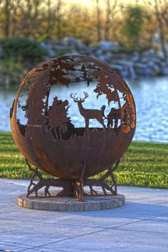 deer fire pit | Up North Sphere Custom Outdoor Fire Pit | Deer Moose Minnesota