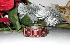 Vintage Red Orange and Gold Enamel Stretch Bracelet by Gallery122