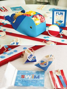 Pool Party Whale Centerpiece & Swim Party Plates #LittleSwimmers