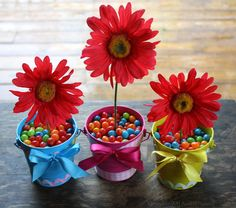 Jelly bean and gerbera flower centerpieces for Easter.