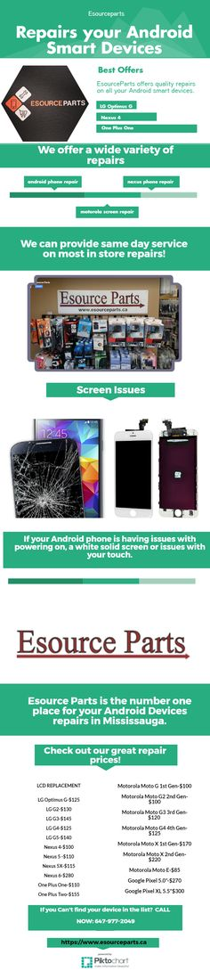 EsourceParts offers quality repairs on all your Android smart devices.If your Android phone is having issues with powering on, a white solid screen or issues with your touch.motorola repair mississauga , motorola cell phone repair , nexus phone...