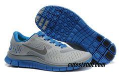 $54.29   Mens Nike Free 4.0 V2 Cool Grey/Blue Shoes