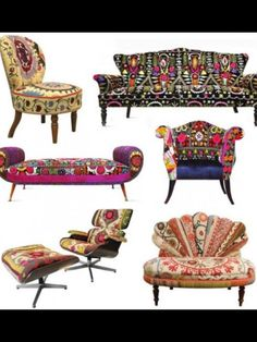 Colourful Vintage Furniture. fabric of couch in the upper right corner