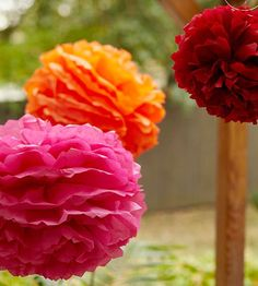 Add festive color to your Mexican fiesta with easy-to-make tissue-paper flowers. Make a few in different colors and sizes, and hang them with thin wire from an overhead patio structure or your backyard fence. /
