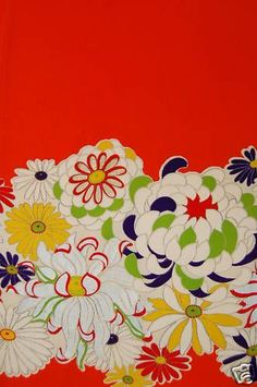 VINTAGE SILK KIMONO FABRIC:Full of Chrysanthemum#56L