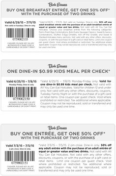 Pinned July 2nd: Second breakfast 50% off + a kids meal for a buck at #BobEvans #coupon via The #Coupons App