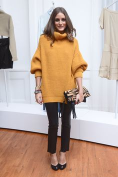 Balance an oversized sweater with slim, cropped trousers.