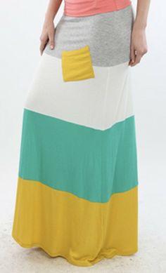 Womens Modest Color Block Spring Maxi Skirt with Contrast Front Pocket. - Apostolic Clothing Co.