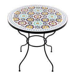 Marokkanischer Mosaiktisch Lisu 80 cm rund Gartentisch Bistrotisch Terrassentisch Fliesentisch Mediterraner Tisch