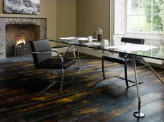 Solid parquet flooring / in wood / aged DARK BRUSHED & BURNED Broadleaf Timber