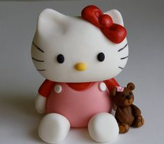 Red Hello Kitty Inspired Fondant Cake/Cupcake Topper by KimSeeEun, $44.50