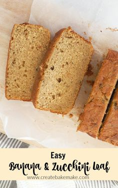 Easy Banana and Zucchini Loaf Recipe. Great for the kids, lunchbox friendly and Thermomix instructions also included. Loaf Recipes, Lunch Box Recipes, Banana Recipes Thermomix, Muffin Recipes, Lunch Meals, Thermomix Desserts, Work Lunches, School Lunches, Kids Meals