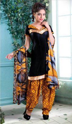 Cotton Lace Work Black Plain Unstitched Patiala Suit - Patiyala suits - Shop By Type - Salwar Kameez