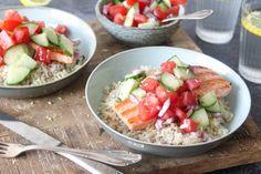 Citroenrijst met gegrilde zalm | salade met wat kortgekookte tuinbonen en beetje ricotta interessanter gemaakt. - verder wel prima recept.