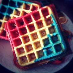 4th of July waffles - do these any color for a super fun breakfast!