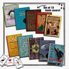 De boeken van de Cover van de Harry Potter - pak van 10   Een complete collectie van boekomslagen (stof jassen) van Harry Potter-films. Het is geweldig als decoratie in een thema feestje van HP.  Zeer gedetailleerd reproducties, zoals te zien in de films. Ik heb getekend en gebruiksspel van alle afbeeldingen zodat grote afdrukkwaliteit, als de originele rekwisieten uit de films. Ze zijn ontworpen met zeer gedetailleerd en uitzien als de originele rekwisieten. Voel je je alsof je binnen…