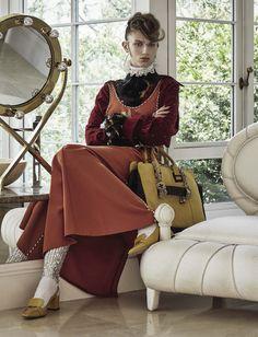 Sabina Lobova by David Dunan for Vogue Italia October 2015 - Louis Vuitton Resort 2016 dress