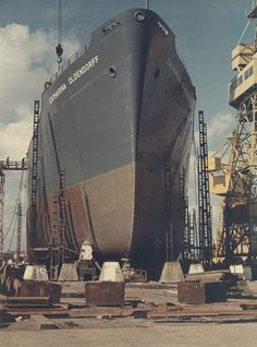 SD14 cargo ship ready for launch - View of 'Catharina Oldendorff' ready for launch at the shipyard of Austin & Pickersgill Ltd, Sunderland, 20 August 1974 (TWAM ref. DS.AP/4/PH/2/12).