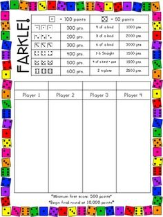 Here's a student friendly set of score sheets and directions for playing Farkle.
