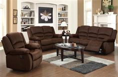 Bailey Chocolate Chenille Fabric Living Room Set