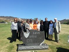 Levy Family monument unveiling in El Camino Cemetery in San Diego, CA.  Headstone made from paradiso granite.  Created by West Memorials - Memphis, TN, United States