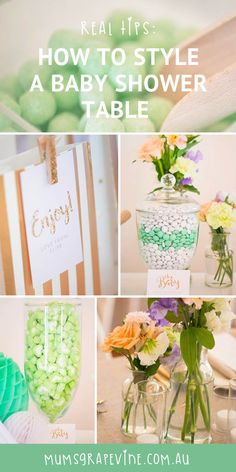 Top five tips for styling baby shower table.  #babyshowerideas #babyshowerinspiration #babyshowerstyle #stylingtips #babyshower #gold #mintandgold