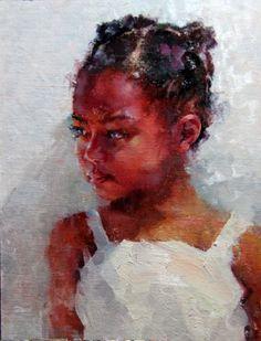 Reluctant by Michael Maczuga Oil ~ 12 x 9 Black Girl Art, Black Women Art, Art Girl, African American Art, African Art, Art Aquarelle, Black Artwork, Black Art Painting, Hair Painting