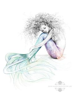 SIGNED Tranquil Mermaid Art Colour Splash Rainbow Tail Drawing Tattoo Print by AMBroughtonArt