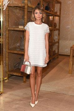 How cute would Sarah Hyland's simple white dress be for date night? Click to see 12 other celeb looks we love